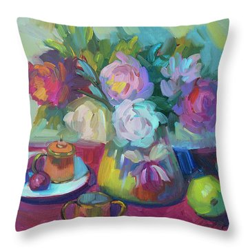 Throw Pillow featuring the painting Belgian Creamer And Sugar by Diane McClary