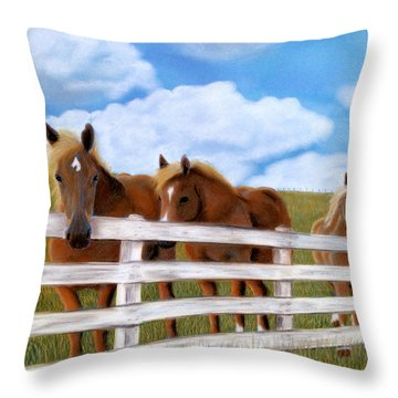 Throw Pillow featuring the pastel Belgians At Pasture by Jan Amiss