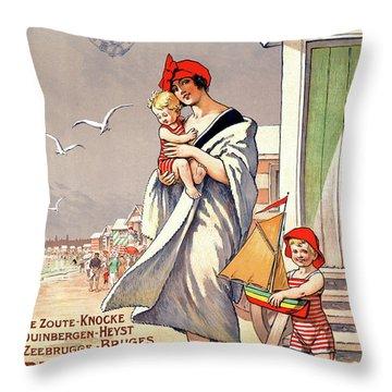 Belgium Ostende Vintage Travel Poster Restored Throw Pillow by Carsten Reisinger