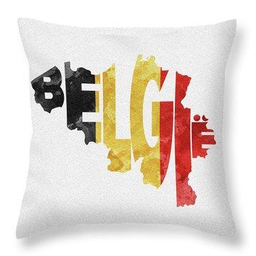 Belgium Typographic Map Flag Throw Pillow
