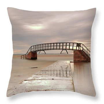 Belhaven Stairs And The Bass At Low Tide Throw Pillow