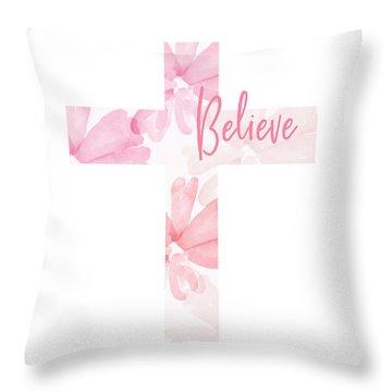 Believe Floral Cross- Art By Linda Woods Throw Pillow