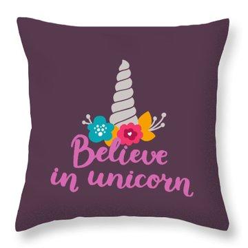 Believe In Unicorn Throw Pillow by Edward Fielding