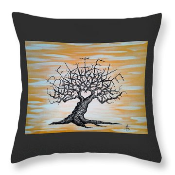 Throw Pillow featuring the drawing Believe Love Tree by Aaron Bombalicki