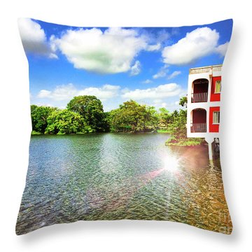 Belize River House Reflection Throw Pillow
