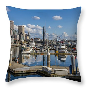 Bell Harbor Marina  Throw Pillow