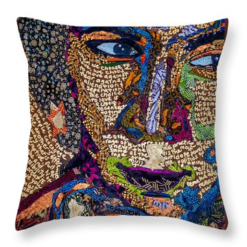 Throw Pillow featuring the tapestry - textile Bell Hooks Unscripted by Apanaki Temitayo M