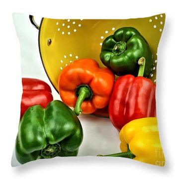 Bell Peppers Throw Pillow