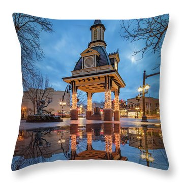 Bell Tower  In Beaver  Throw Pillow by Emmanuel Panagiotakis