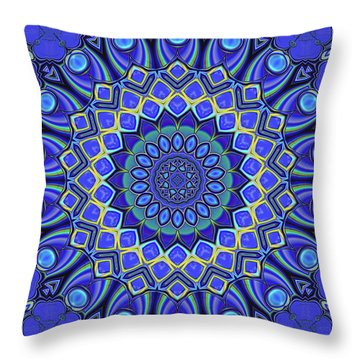 Throw Pillow featuring the digital art Bella - Blue by Wendy J St Christopher