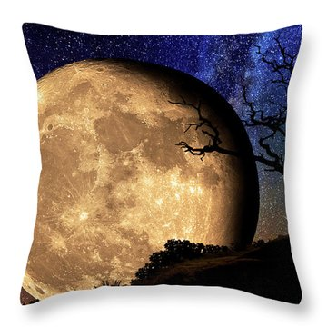 Bella Luna From Another World Throw Pillow