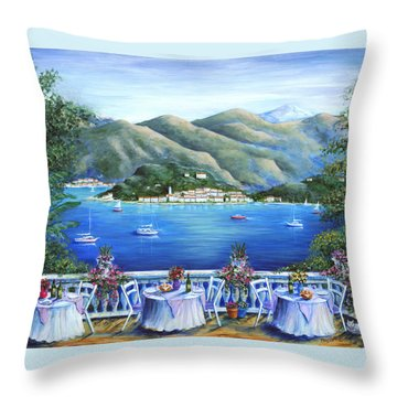 Bellagio From The Cafe Throw Pillow by Marilyn Dunlap