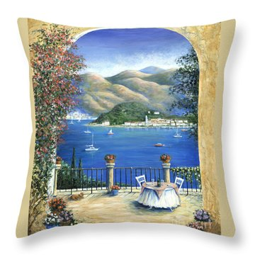 Bellagio Lake Como From The Terrace Throw Pillow by Marilyn Dunlap
