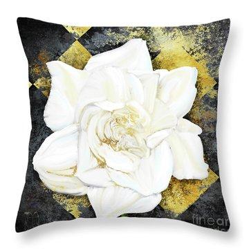 Belle, White Gardenia Blooms Amidst French Art Deco Grunge Throw Pillow