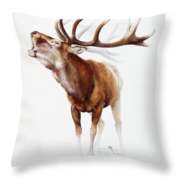Belling Stag Watercolor Throw Pillow