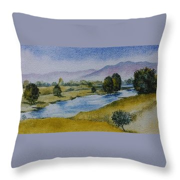 Throw Pillow featuring the painting Bellinger Valley In Spring by Sandra Phryce-Jones