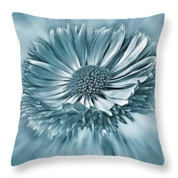 Bellis In Cyan  #flower #flowers Throw Pillow
