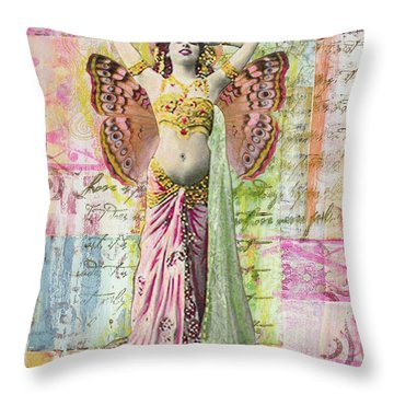 Throw Pillow featuring the mixed media Belly Dancer by Desiree Paquette
