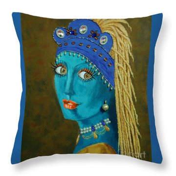 Belly Dancer With A Pearl Earring -- The Original -- Whimsical Redo Of Vermeer Painting Throw Pillow