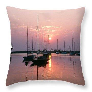Belmont Harbor Sunrise 1973 Throw Pillow by Thomas Firak