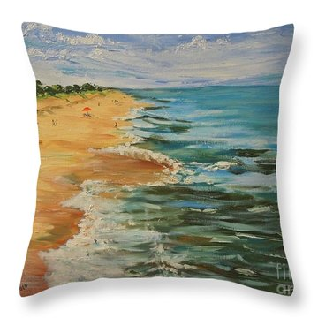 Beloved Beach - Sold Throw Pillow by Judith Espinoza