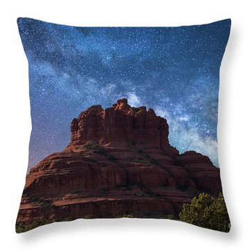 Below The Milky Way At Bell Rock Throw Pillow