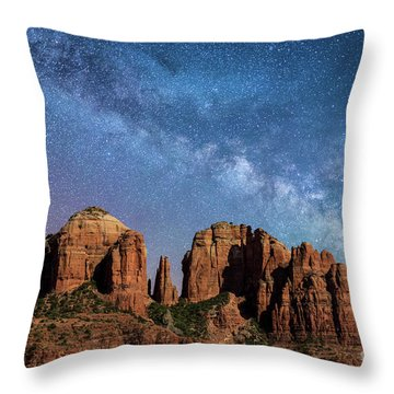 Below The Milky Way At Cathedral Rock Throw Pillow