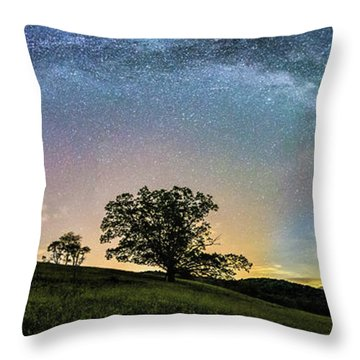 Below The Milky Way At The Blue Ridge Mountains Throw Pillow