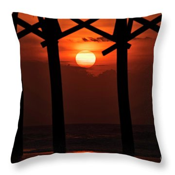 Throw Pillow featuring the photograph Below The Pier by DJA Images