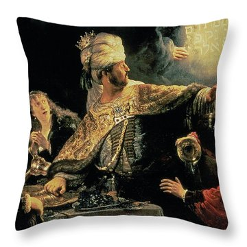 Belshazzars Feast Throw Pillow by Rembrandt