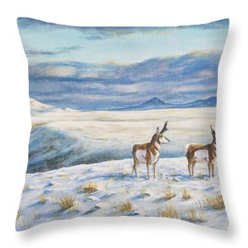 Throw Pillow featuring the painting Belt Butte Winter by Kim Lockman