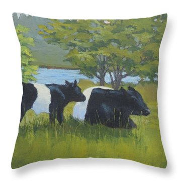 Belted Galloway And Calf Throw Pillow