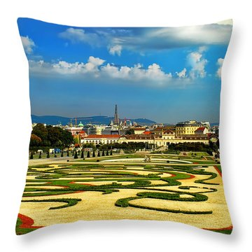 Throw Pillow featuring the photograph Belvedere Palace Gardens by Mariola Bitner