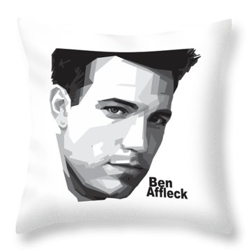 Ben Affleck Portrait Art Throw Pillow by Madiaz Roby