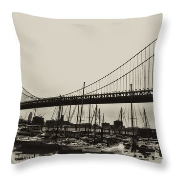 Ben Franklin Bridge From The Marina In Black And White. Throw Pillow by Bill Cannon