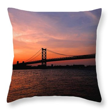 Ben Franklin Bridge Sunset Throw Pillow