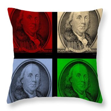 Ben Franklin In Colors Throw Pillow