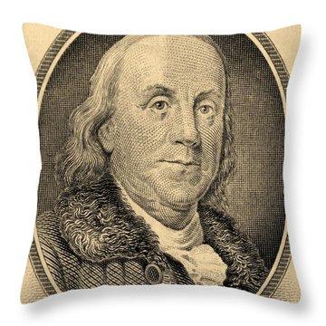 Ben Franklin In Sepia Throw Pillow