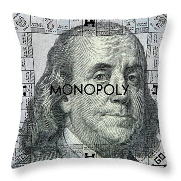 Ben Franklin Monopoly Throw Pillow