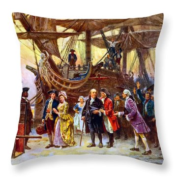 Ben Franklin Returns To Philadelphia Throw Pillow