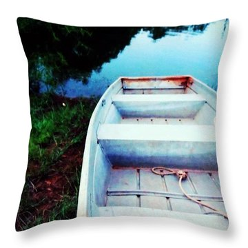 Rusted Boat Throw Pillow by Jen McKnight