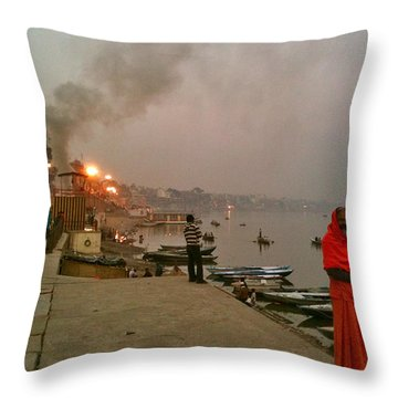 Benares Ganges River At Dusk Throw Pillow by Matt Mather