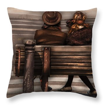 Bench - A Couple Out Of Time Throw Pillow by Mike Savad