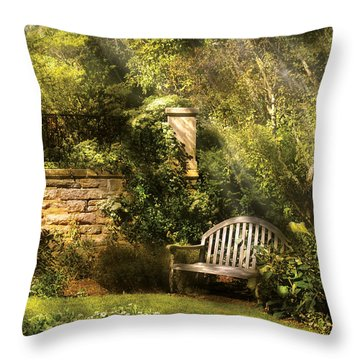 Bench - Edens Edge  Throw Pillow by Mike Savad