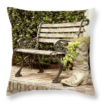 Throw Pillow featuring the photograph Bench And Boot 2 by Michael Colgate