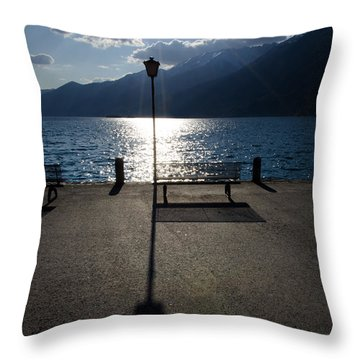 Bench And Street Lamp Throw Pillow