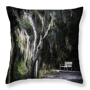 Bench At Sunset Throw Pillow