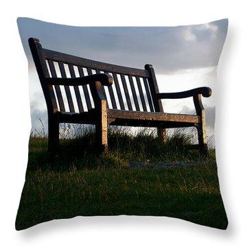 Bench At Sunset Throw Pillow