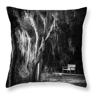 Bench At Sunset In Black And White Throw Pillow