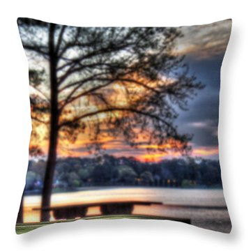 Bench By Lake Throw Pillow